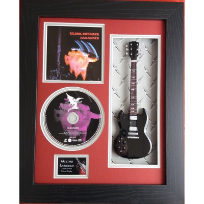 "Black Sabbath Paranoid Miniature 10"" Guitar & CD/Sleeve Framed Presentation"
