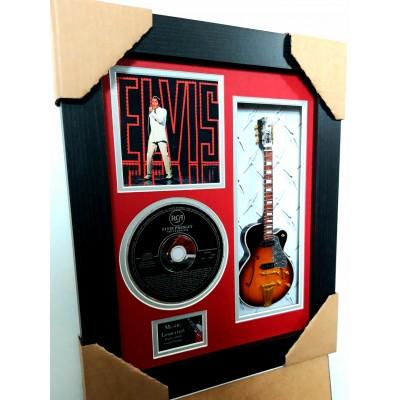 "Elvis NBC Special Miniature 10"" Guitar & CD/Sleeve Framed Presentation"
