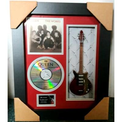"Queen The Works Miniature 10"" Guitar & CD/Sleeve Framed Presentation"
