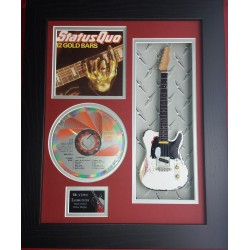 "Status Quo 12 Gold Bars Miniature 10"" Guitar & CD/Sleeve Framed Presentation"