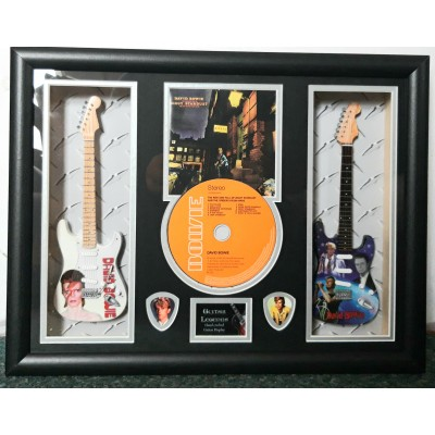 David Bowie Ziggy Stardust Double Mini Guitar, CD & Plectrum Presentation