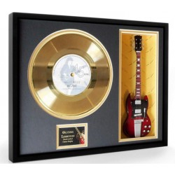 "AC/DC Hells Bells Gold Replica Vinyl and 10"" Miniature Guitar"