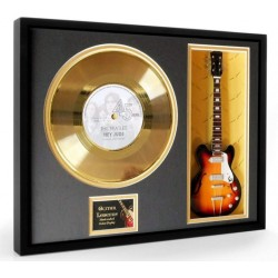 "The Beatles Hey Jude Gold Replica Vinyl and 10"" Miniature Guitar"