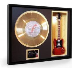 "AC/DC Thunderstruck Gold Replica Vinyl and 10"" Miniature Guitar"