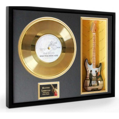 """Pink Floyd Wish You Were Here Gold Replica Vinyl and 10"""" Miniature Guitar"""