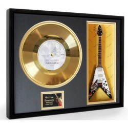 "Jimi Hendrix Purple Haze Gold Replica Vinyl and 10"" Miniature Guitar"