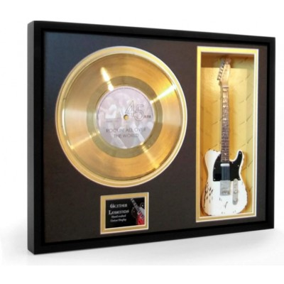 """Status Quo Rockin' all over the world Gold Replica Vinyl and 10"""" Miniature Guitar"""