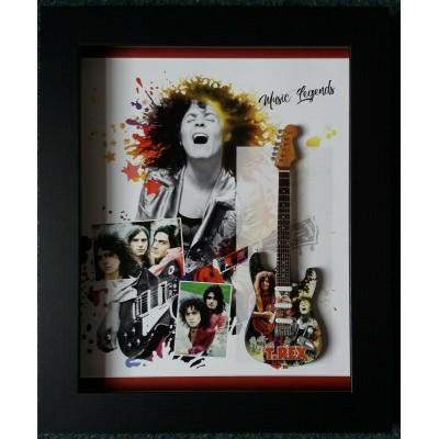 Marc Bolan T Rex Framed Miniature Tribute Guitar