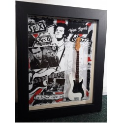 Sid Vicious Sex Pistols Framed Miniature Tribute Guitar