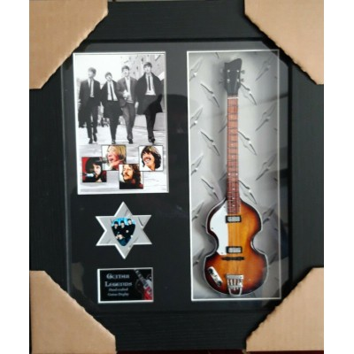 The Beatles Framed Bass Guitar & Plectrum Presentation