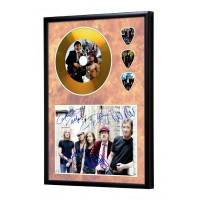 AC/DC Gold Look CD & Plectrum Display