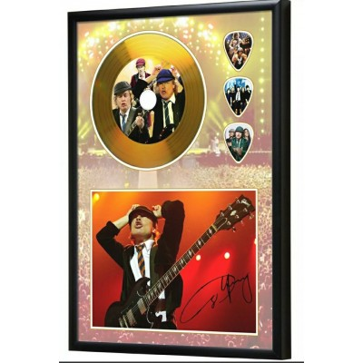 AC/DC Angus Young Gold Look CD & Plectrum Display