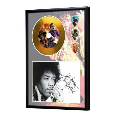 Jimi Hendrix Gold Look CD & Plectrum Display