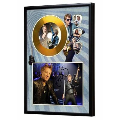 Jon Bon Jovi Gold Look CD & Plectrum Display