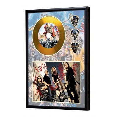 Iron Maiden Gold Look CD & Plectrum Display