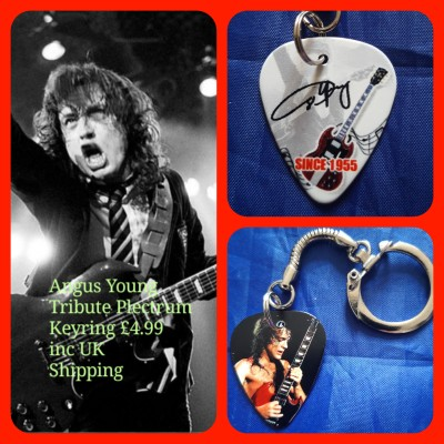 AC/DC Angus Young Double Sided Tribute Plectrum Keyring