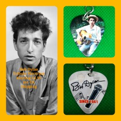Bob Dylan Double Sided Tribute Plectrum Keyring