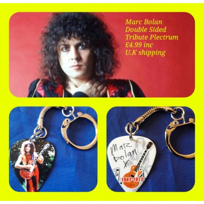 Marc Bolan Double Sided Tribute Plectrum Keyring
