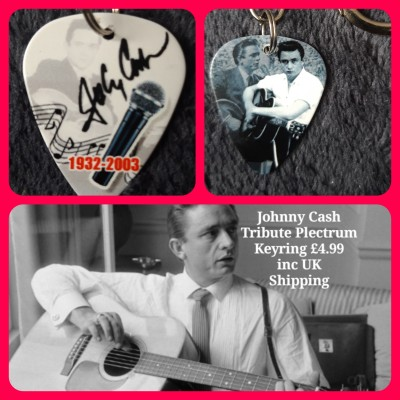 Johnny Cash Double Sided Tribute Plectrum Keyring