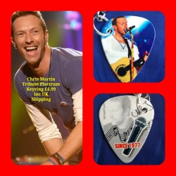 Chris Martin Coldplay Double Sided Tribute Plectrum Keyring