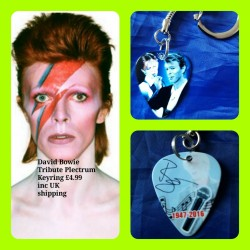 David Bowie Double Sided Tribute Plectrum Keyring