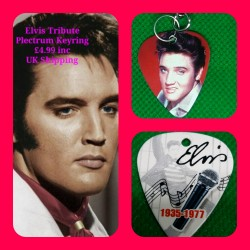 Elvis Double Sided Tribute Plectrum Keyring