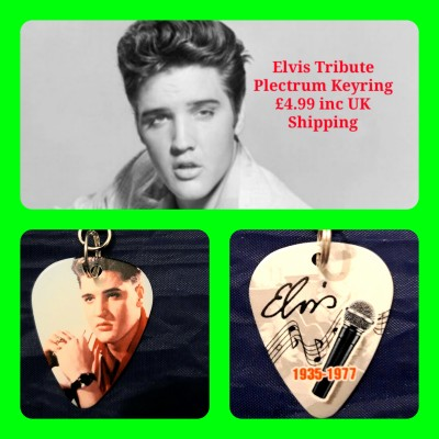 Elvis Presley Double Sided Tribute Plectrum Keyring