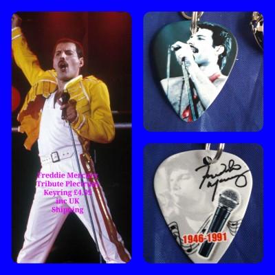 Freddie Mercury Double Sided Tribute Plectrum Keyring