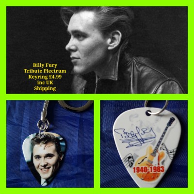 Billy Fury Double Sided Tribute Plectrum Keyring