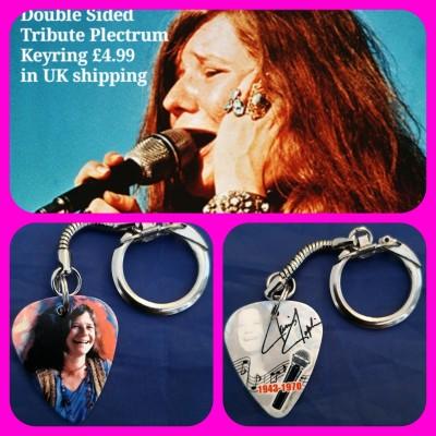 Janis Joplin Double Sided Tribute Plectrum Keyring