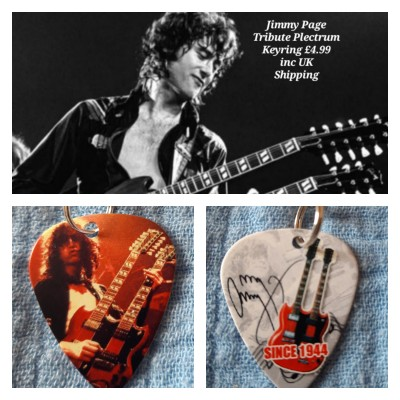 Jimmy Page Led Zeppelin Double Sided Tribute Plectrum Keyring