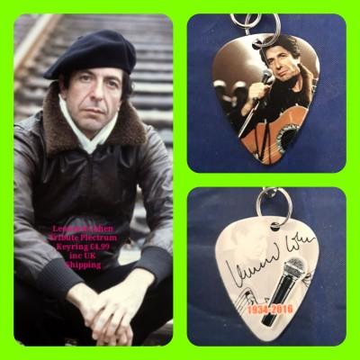 Leonard Cohen Double Sided Tribute Plectrum Keyring