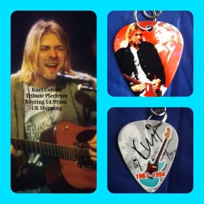 Kurt Cobain Nirvana Double Sided Tribute Plectrum Keyring