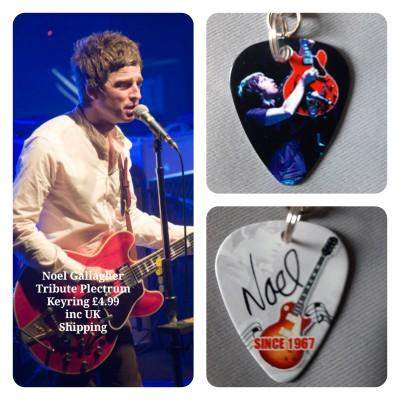 Noel Gallagher Double Sided Tribute Plectrum Keyring