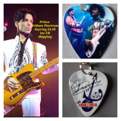 Prince Double Sided Tribute Plectrum Keyring