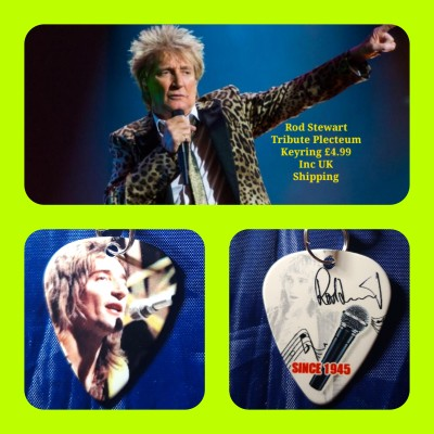 Rod Stewart Double Sided Tribute Plectrum Keyring