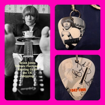 Rolling Stones Brian Jones Double Sided Tribute Plectrum Keyring