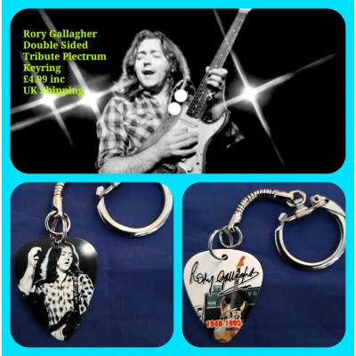 Rory Gallagher Double Sided Tribute Plectrum Keyring