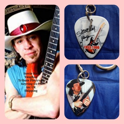 Stevie Ray Vaughan Double Sided Tribute Plectrum Keyring
