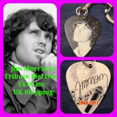 Jim Morrison The Doors Double Sided Tribute Plectrum Keyring