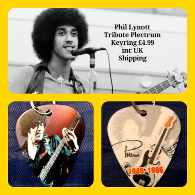 Phil Lynott Double Sided Tribute Plectrum Keyring