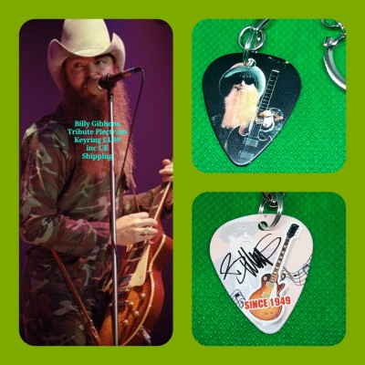 ZZ Top Double Sided Tribute Plectrum Keyring