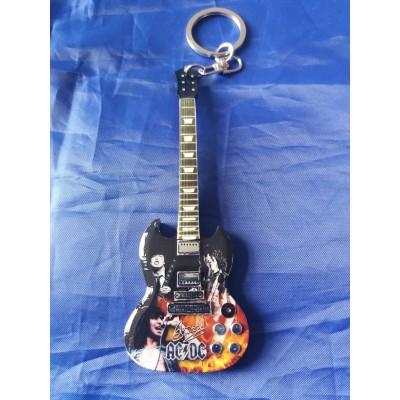 Bon Scott AC/DC 10cm Wooden Guitar Tribute Key Chain