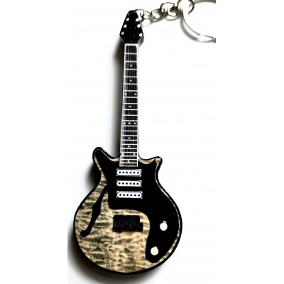 Queen Brian May 10cm Wooden Tribute Guitar Key Chain