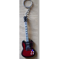 AC/DC Angus Young 10cm Wooden Tribute Guitar Key Chain