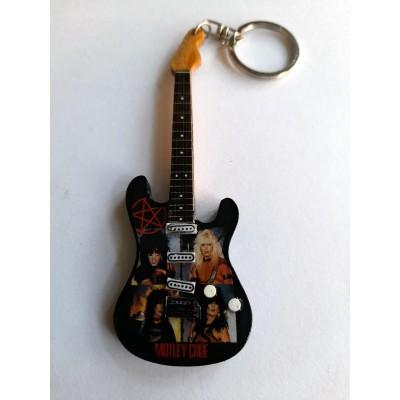 Motley Crue 10cm Wooden Tribute Guitar Key Chain