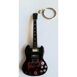 AC/DC Angus 10cm Wooden Tribute Guitar Key Chain