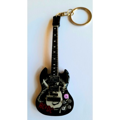 AC/DC Angus Face 10cm Wooden Tribute Guitar Key Chain