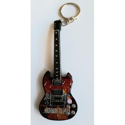 AC/DC H2H 10cm Wooden Tribute Guitar Key Chain