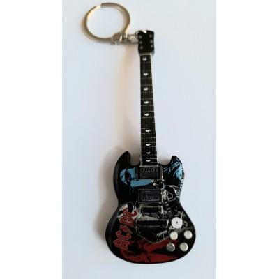 AC/DC M 10cm Wooden Tribute Guitar Key Chain